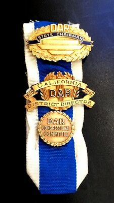 Vintage DAR Daughters of the Revolution Ribbon with 14k Gold Pendant & 4 GF Pins