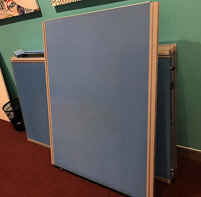 Office Partitions in blue fabric in good condition.