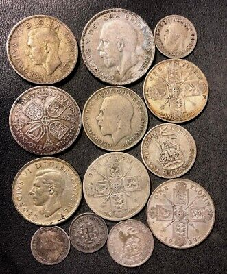 Vintage Great Britain Coin Lot - 1901-1942 - 13 SILVER COINS - Lot #117