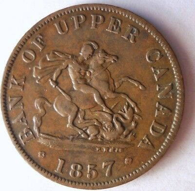 1857 CANADA (UPPER) 1/2 PENNY - AU - Very Rare Type - HUGE VALUE - Lot #117