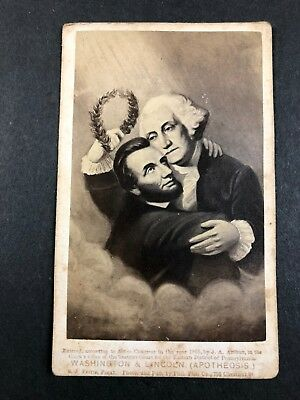 Washington Lincoln Apotheosis 1865 Ja Arthur Pennsylvania Cdv Photograph