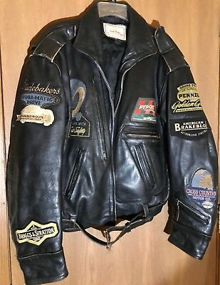 Vtg LEE TREVOR Rollfast Indy Men's Leather Bomber Biker Jacket Logo Patches XXL