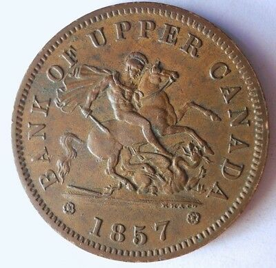 1857 CANADA (UPPER) PENNY - AU - Very Rare Type - HUGE VALUE - Lot #117