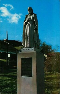 Helena, Montana, MT, Statue of Father Marquette, Chrome Vintage Postcard d6740