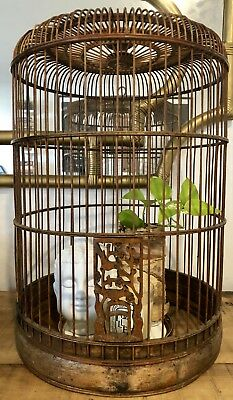 Rare Antique Vintage Wooden Wood Bird Cage Chinese Asian Chinoiserie Bamboo