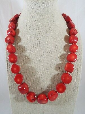 Sterling Silver Chunky Red Coral Beaded Individually Knotted Necklace Signed LUC