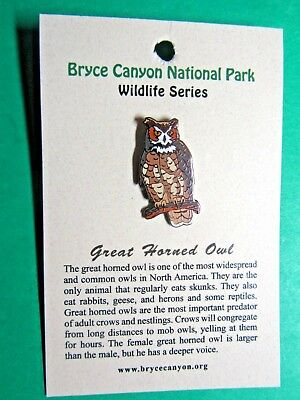 Great Horned Owl Bryce Canyon National Park Wildlife Series Lapel Hat Pin (2)