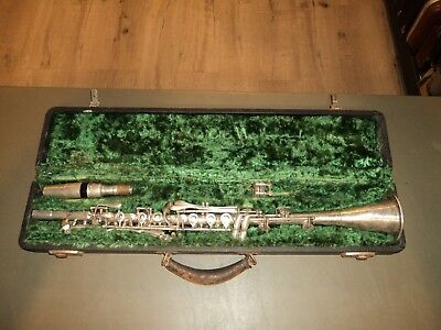 Vintage 1940's H.N. White Co. Cleveland Clarinet W/ Case Silver Vibrator France