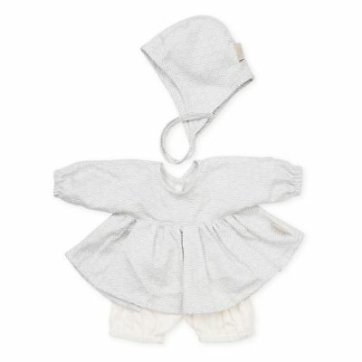 Doll's Clothing Set & Bonnet - Grey Wave Play Toy Accessories