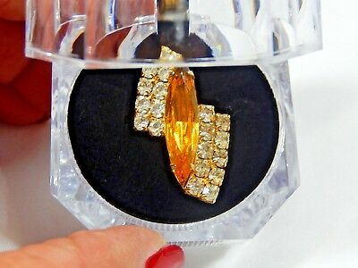 Vtg  Long Topaz Rhinestone Navette And White Rhinestone Bold Adj. Statement Ring