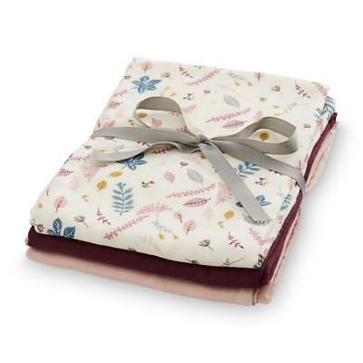 Organic Muslin Wraps - Mix 3 Pack - Pressed Leaves Rose, Bordeaux, Blossom Pink