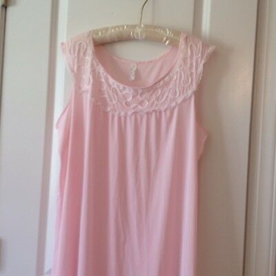 Vintage Nightgown, Pink, Long, All Nylon, Size 42 By Beau-Trix