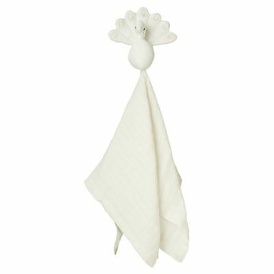 Peacock Cuddle Cloth - Creme White baby kids newborn wrap muslin squares