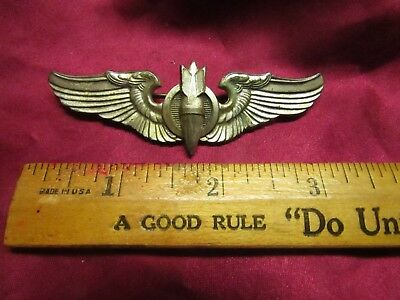 Awesome Bombadier Full Size (3 Inch) Wings! 2 Piece Construction Sterling! Wwii