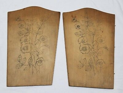 Antique Flemish Art Wood Burning Pyrography Plate Folk Art Victorian Chair Back
