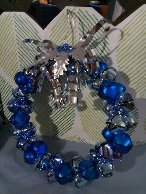 "Silver and Blue Jingle Bell Metal Christmas Wreath 12"" Round EUC"