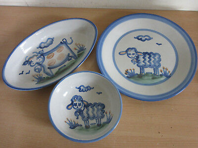 Vintage MA Hadley 3pc Lot plate, oval serving bowl, smaller bowl sheep & cows