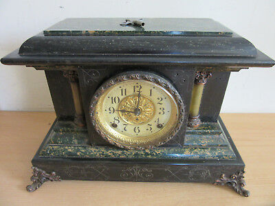 Antique Fancy Seth Thomas Late Victorian Aesthetic Mantel clock, celluloid metal