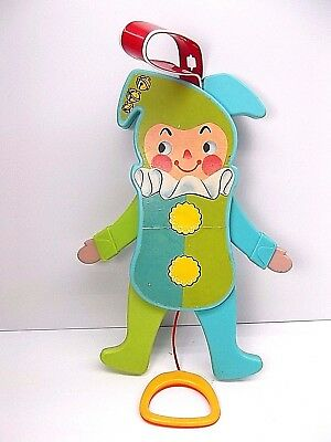 VINTAGE Jolly Jumping Jack Toy Fisher Price 1969 Pull String it Squeaks , Moves