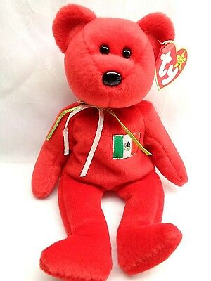 Retired Ty Beanie Babies Plush Red Bear Mexico OSITO