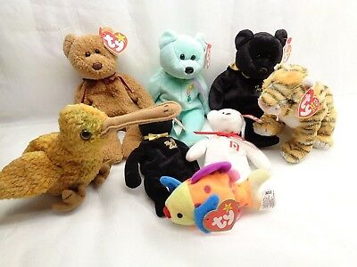 Retired Ty Beanie Babies Plush Lot of 8 Curley Rumba Ariel The End Beak Lips Map