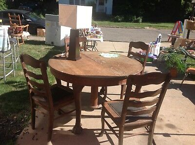 Antique Dining Room Table with 4 Chairs