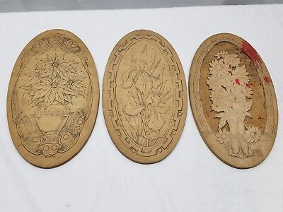 3 Antique Flemish Art Wood Burning Pyrography Plate Folk Art Victorian Flowers