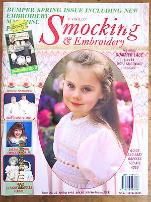 ~AUSTRALIAN SMOCKING & EMBROIDERY Magazine - Issue 22 - 1992 - COMPLETE - RARE~