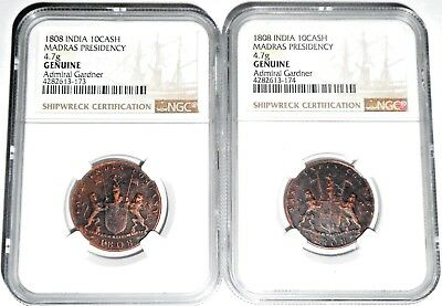 TWO (2) 1808 Gardner Shipwreck East India Co TEN CASH Coins,NGC Certified KM320