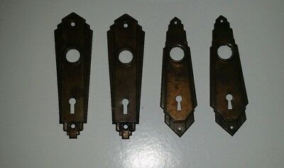 4 Antique Vintage Art Deco Door Knob Back Plates