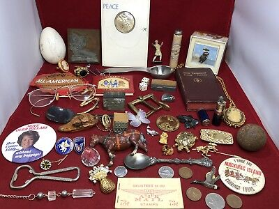 56 Pc Vintage Junk Drawer Lot #1 Jewelry Coins Military Sterling Victory Lighter