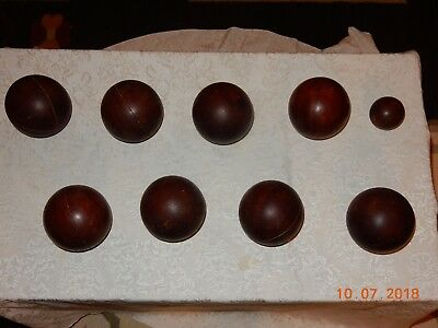 Vintage Primitive Antique Old Wood Wooden Bocce Balls 9Pc