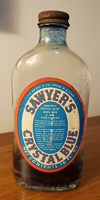 Vtg SAWYER'S CRYSTAL BLUE BOTTLE, laundry