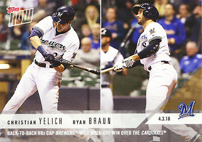 Christian Yelich Ryan Braun Milwaukee Brewers 2018 Topps NOW 33 ONLY 377 Printed