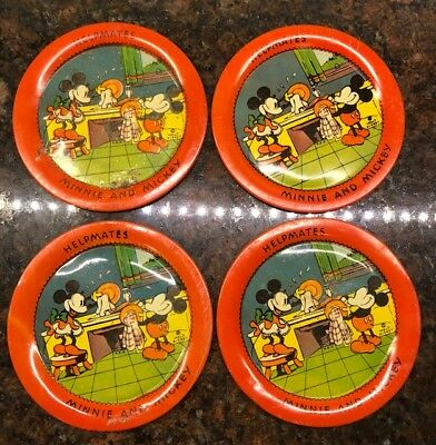 Vintage 1930's Disney Ohio Art Mickey & Minnie Helpmates Plates - 4