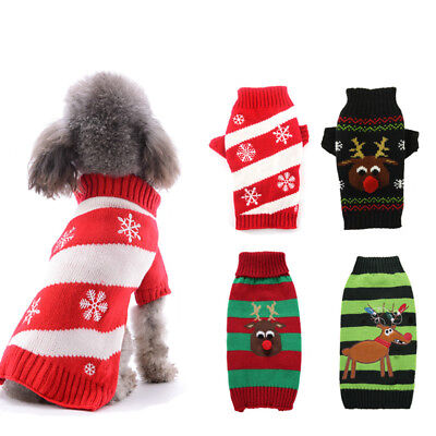Red Sweater Dog Winter Clothes Christmas Jumper Cat Apparel For Small Dog XXS