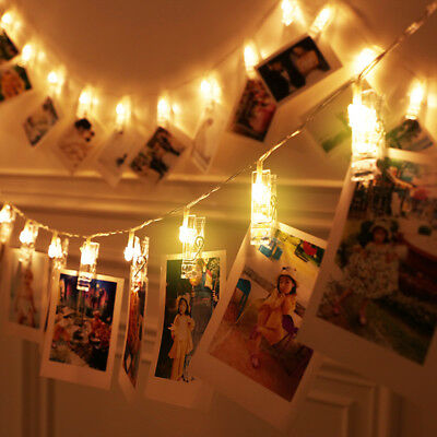 LED Photo Peg Clip String Light Lamp For Hanging Picture Xmas Wedding Decoration