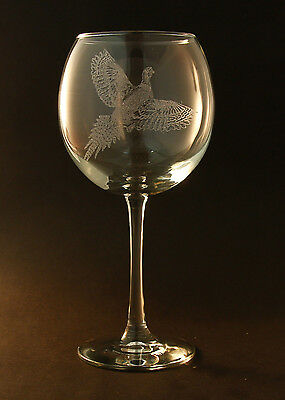 Etched Pheasant on Large Elegant Wine Glasses (Set of 2)