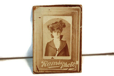 Antique  Cabinet Card  Photograph Pretty  Woman  Rains Photo  1882