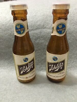 SCHLITZ Beer Bottles Alcohol Salt and Pepper Shakers Vintage