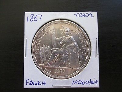 1887A French Indo-China Silver Piastre in MS Condition (Cleaned)