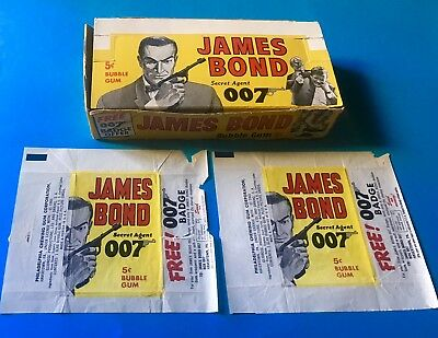 JAMES BOND PHILLY 1965 Wax Pack Display Box & 2 Wrappers