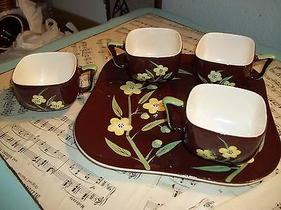 Vintage Weil Ware brown with yellow flower 4 coffee cups mugs and 1 square plate