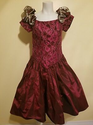 Vtg 80s Formal Dress Loralie Wtag Sz 12 Red Gold Iridescent Lace
