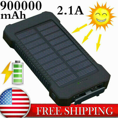Fast Charging Waterproof Solar Charger Power Bank 500000mAh 2 USB Battery Pack