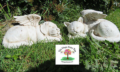 26cm Dog Cat Pet Memorial Statue - Angel Stone with Wings Headstone