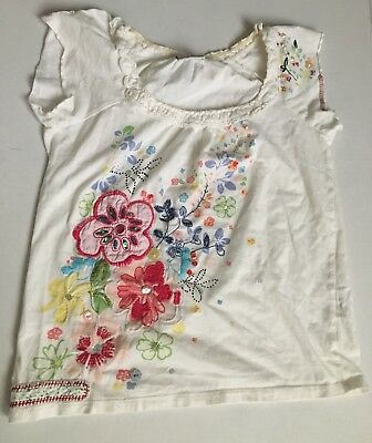 Next Youth Girls Multi-Color Floral 🌺White Embellished T-Shirt Kids Sz. 9 Years