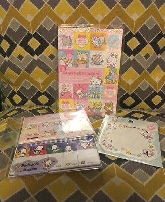 Sanrio Character Memo, Pochacco Sticky Pad & Hello Kitty / Pochacco Sticky Flags