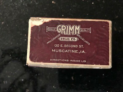 "Vintage ""Prescription Box"", Grimm Drug Company, Muscatine, Iowa 1930's era"