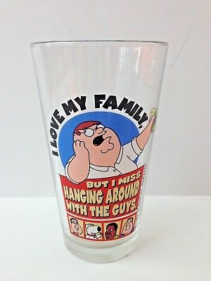 Family Guy Peter Beer Pint Collector Glass Cup Hanging with the Guys OOP New